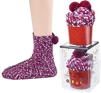 JARSEEN 2 Caja Regalo Navidad Calcetines Dia de san Valentin Super Suaves Cómodos Calentar Mujer DIY (2 Morado, EU 36-42): Amazon.es: Ropa y accesorios