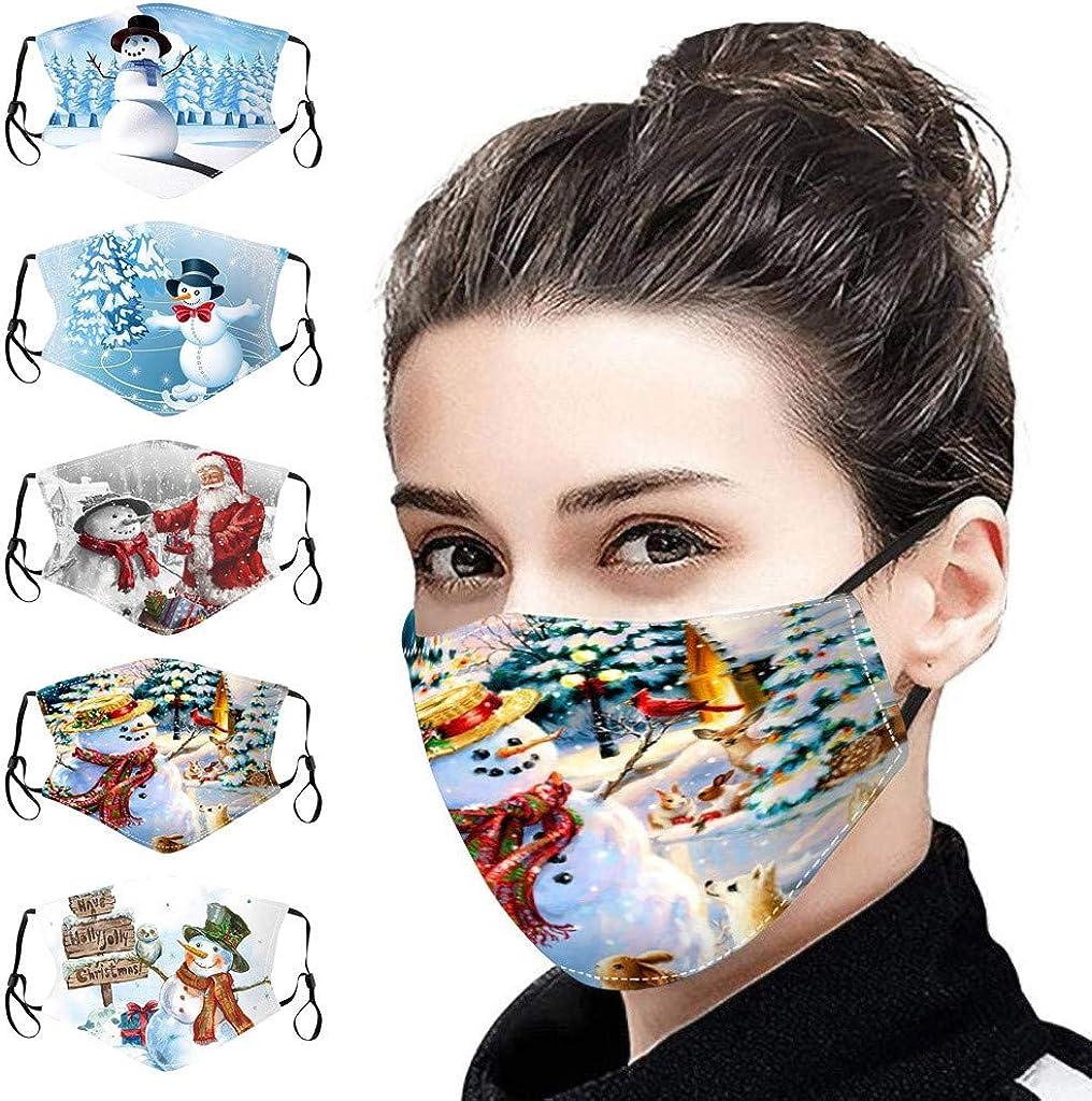Santa Claus Snowman Reindeer Masks Mouth Cover Reusable Washable Print Balaclava 5PC Christmas Face Masks for Women Men
