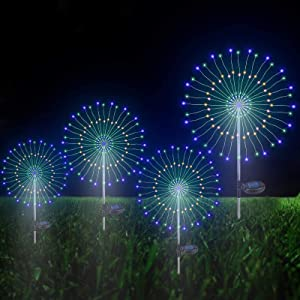 Outdoor Solar Garden Decorative Lights- Christmas decorations,105 LED Powered Wires String Landscape Light-DIY Flowers Fireworks Trees for Walkway Patio Lawn Backyard, Party Decor 4 Pack (Multi-Color)