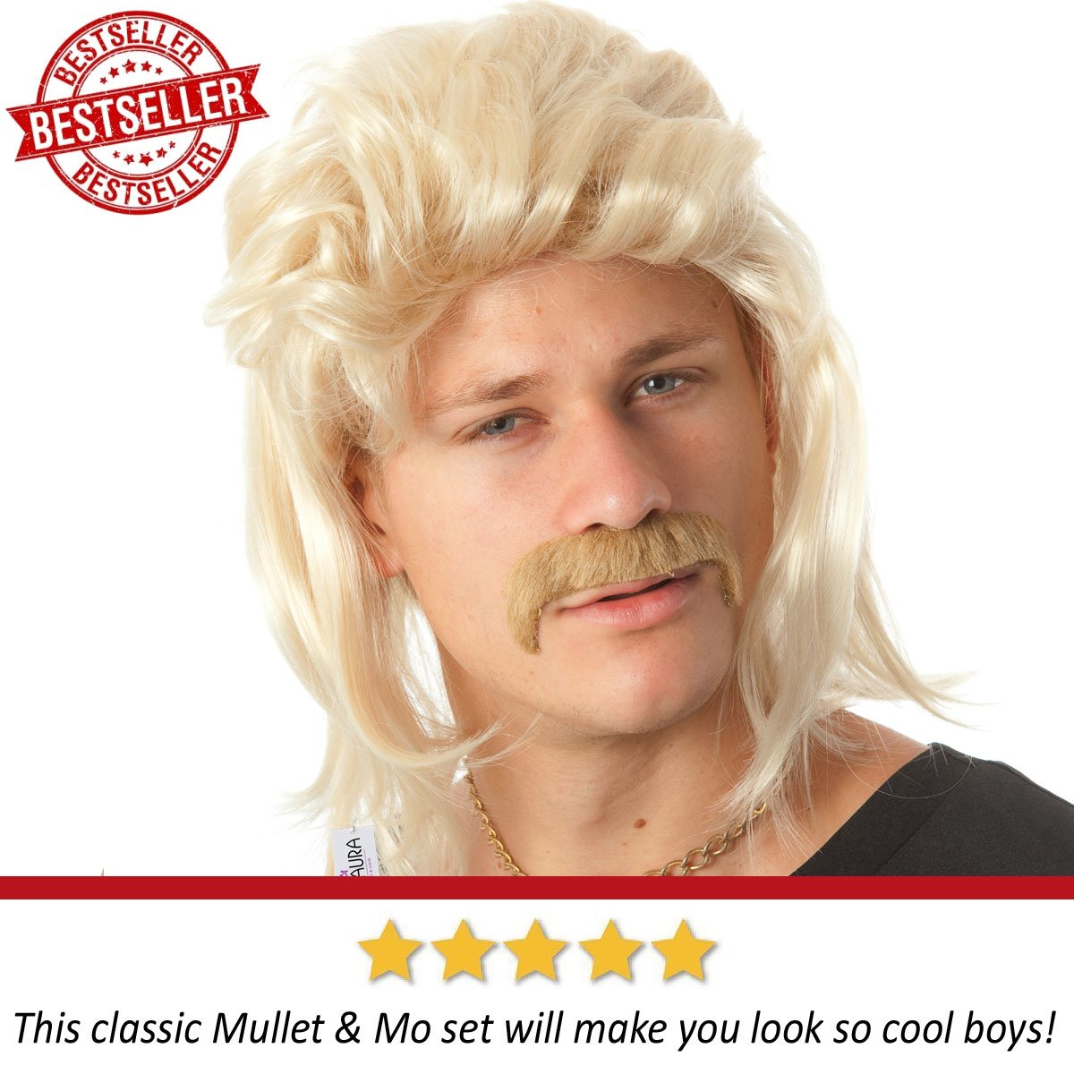 ALLAURA Blonde Mullet Wig Mustache - Hillbilly White Trash Redneck Costume 80s Mens by ALLAURA (Image #4)