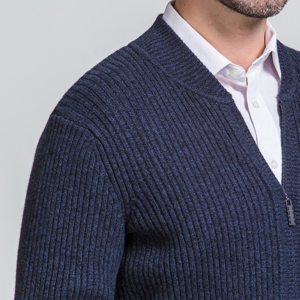 UNbox Mens Cashmere Solid Zip Knitted Cardigan Sweater Black Grey S by UNbox (Image #3)