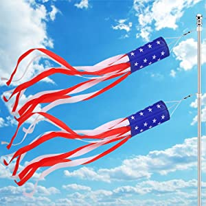 2 Pack 70 Inch American Flag Windsock 4th July Outdoor Hanging Decorations, Stars and Stripes USA Patriotic Fourth July Memorial Day Independence Day Red White and Blue BBQ Holiday Party Decor