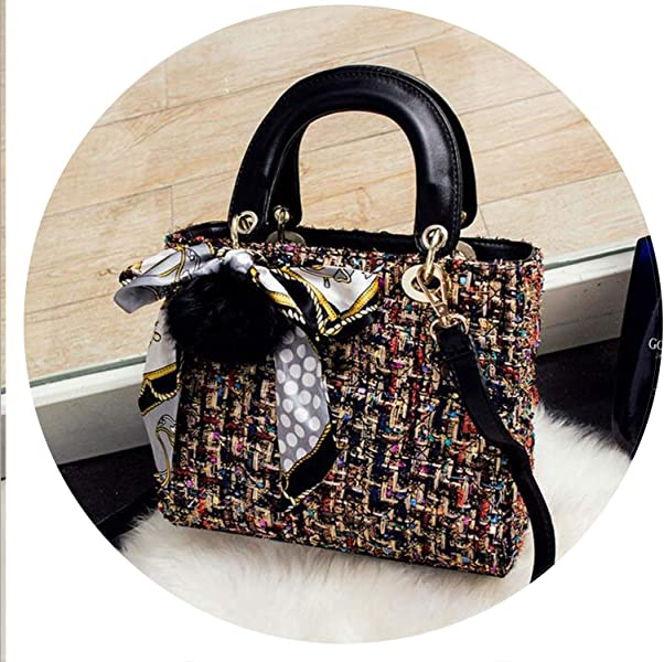 Woolen Bag Mini Handbags Women Bags Lady Diamond Lattice Chain Crossbody Bag, Black Big Size: Handbags: Amazon.com