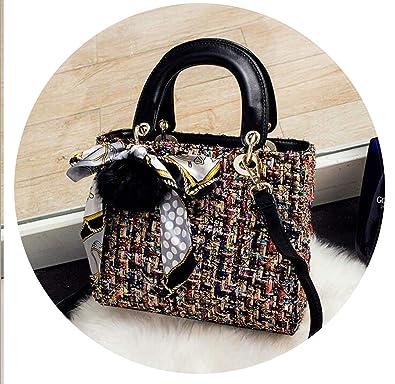 Woolen Bag Mini Handbags Women Bags Lady Diamond Lattice Chain Crossbody Bag,Black Big Size
