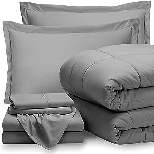 Bare Home Full Sheet Set - 1800 Ultra-Soft Microfiber Bed Sheets (Full, Light Grey) + Comforter Set - All Season (Full, Light Grey)