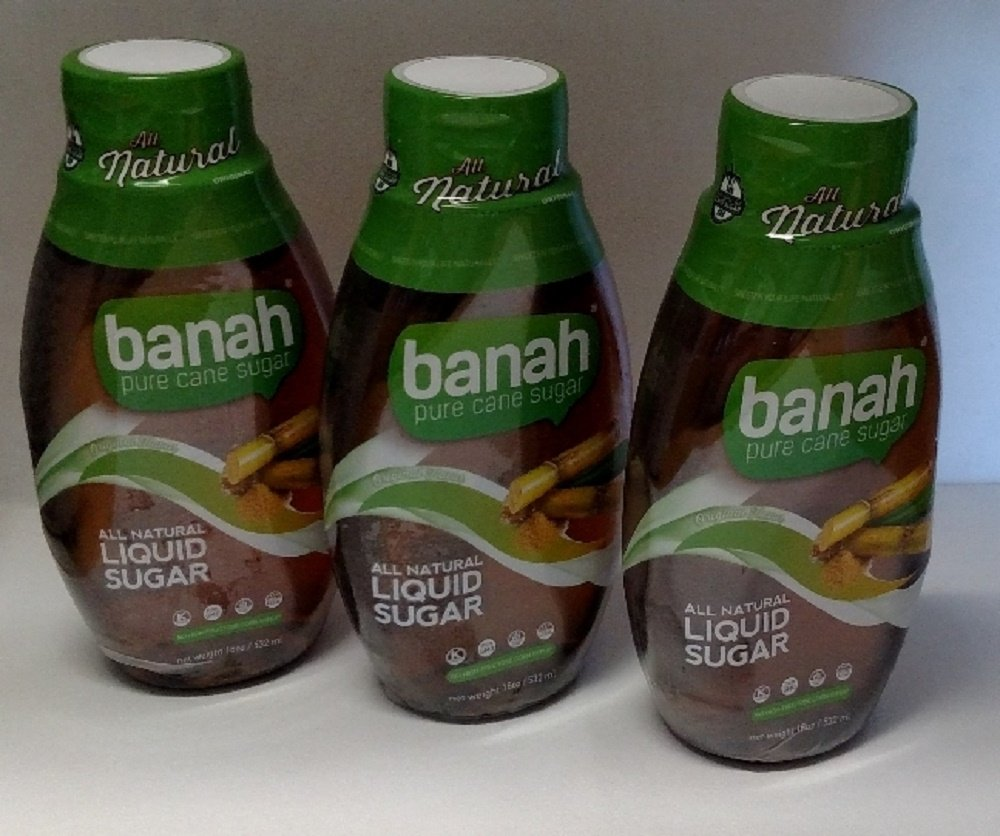 Banah Pure Cane Sugar All Natural Liquid Sugar 18 Fl Oz - 3 Pack