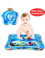 WTOR 2Pcs Inflatable Water Play Mat Toys and Infant Swimming Neck Ring for Babies Tummy Time Premium Water Mat Activity Toddlers Perfect Fun Time Play Activity Center Baby's Stimulation Growth