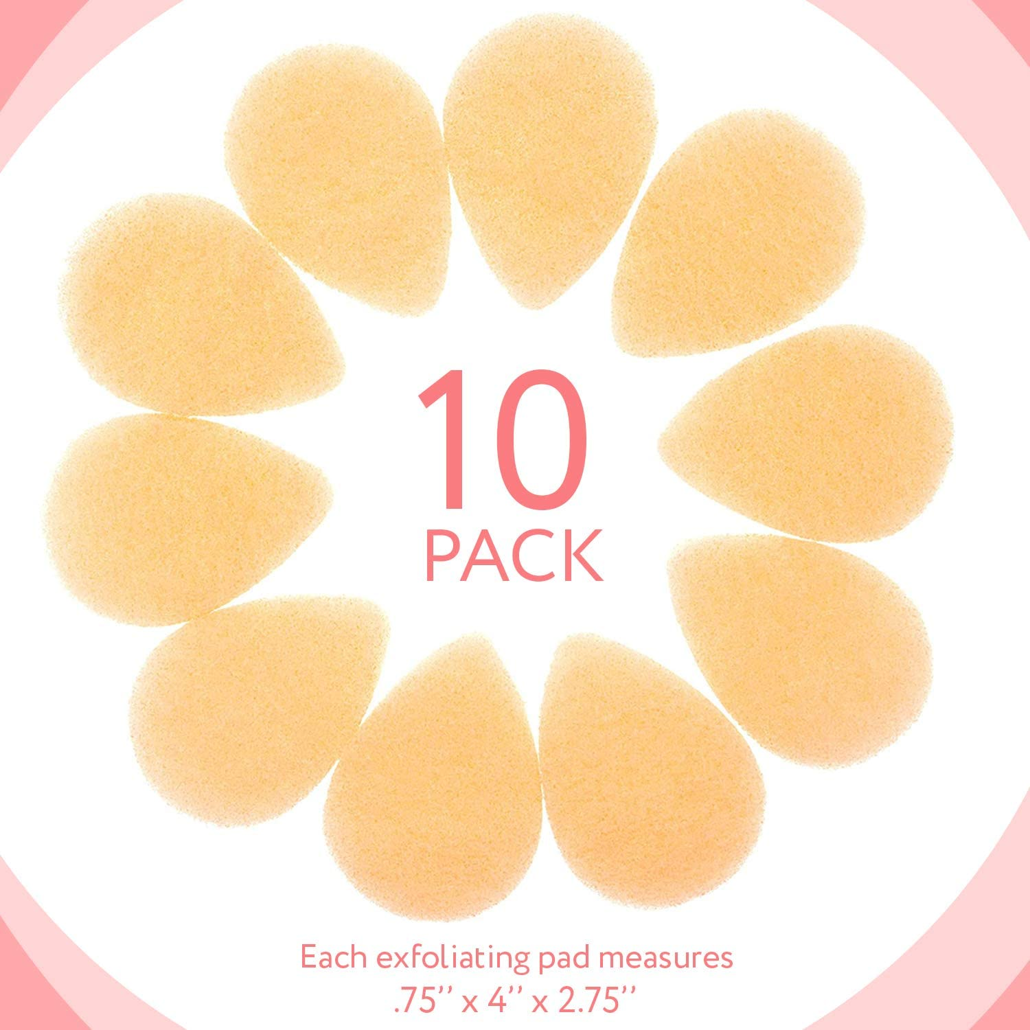 10 Pack Facial Sponge for Daily Cleansing and Gentle Exfoliating - Buff Puff Style Exfoliating Pads Perfect for Removing Dead Skin, Dirt and Makeup - Reusable Puf, Made in The USA: Health & Personal Care
