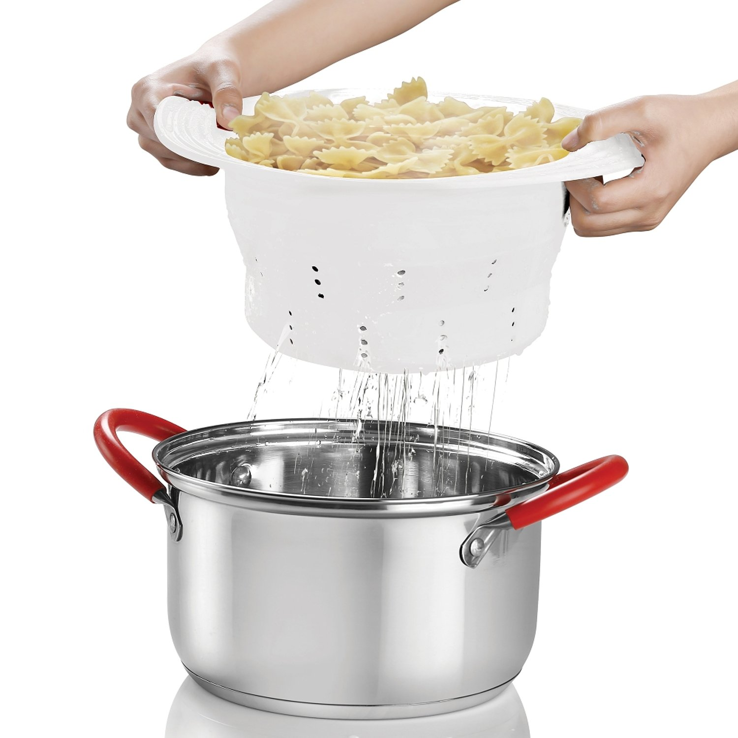 INNOKA Collapsible Silicone Colander Strainer, Foldable Strainer Sizes 10.4, Heat-Resistant, Microwave & Freezer Safe, Steam Basket for Spaghetti, Fruits, Pasta and Veggies - Dishwasher Safe - White 4335998015