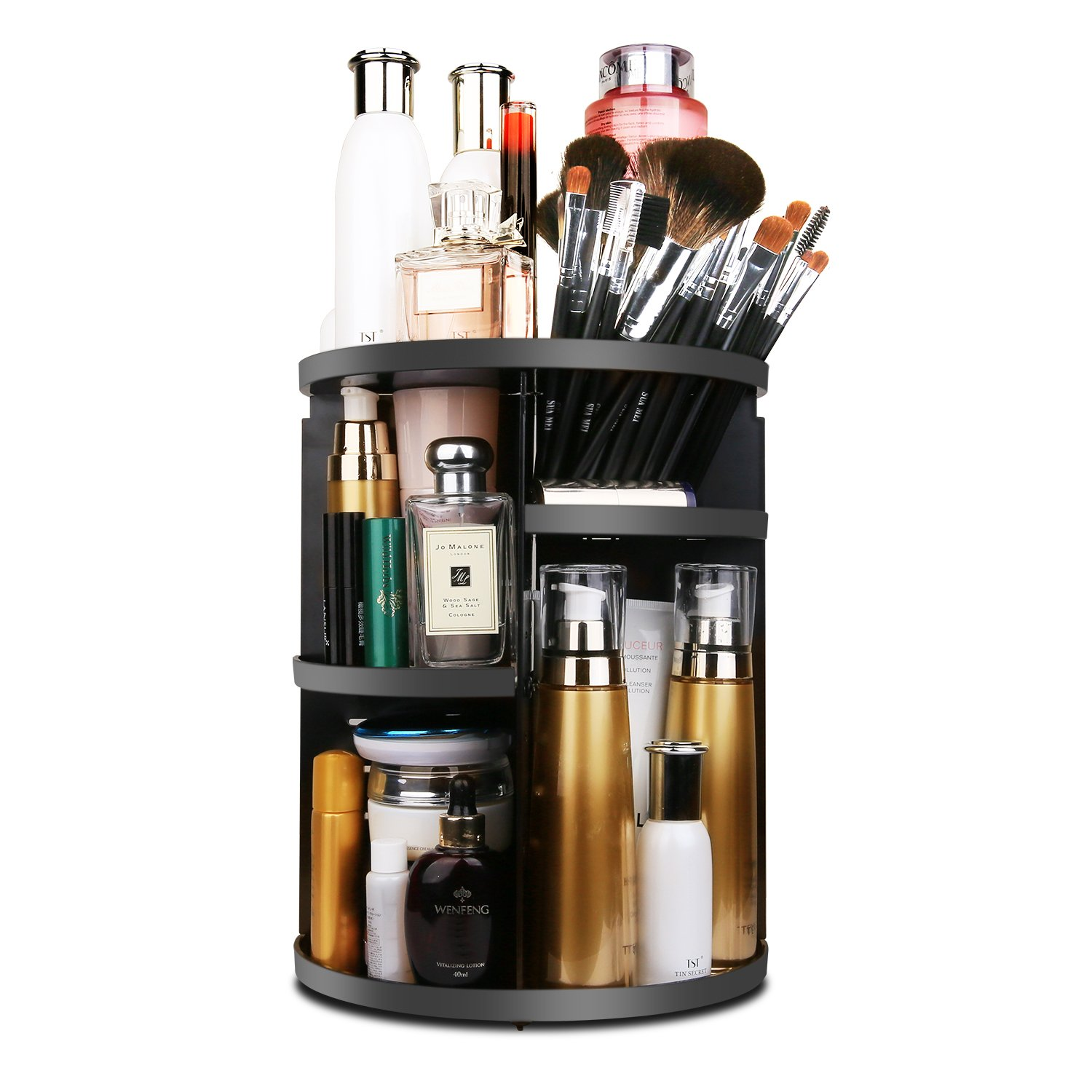 MOFIR Makeup Organizer 360 Degree Rotating, Adjustable Multi-Function Cosmetics Storage Box, Small Size Extra Large Capacity, Fits Different Sizes of Cosmetics … (Circle, White)