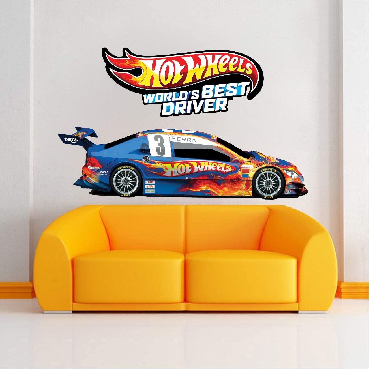Race Car Boys Wall Decal Kids Racing Decor Art Apartment Bedroom Hotwheels s36 Prime Decals Race Car Wall Stickers for The Nursery