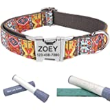 Personalized Dog Collar/Premium Custom Dog Collar with Name Plated/Stainless Steel Quick Release Buckle/Fashion Patterns Dog Collars/Laser Engraved