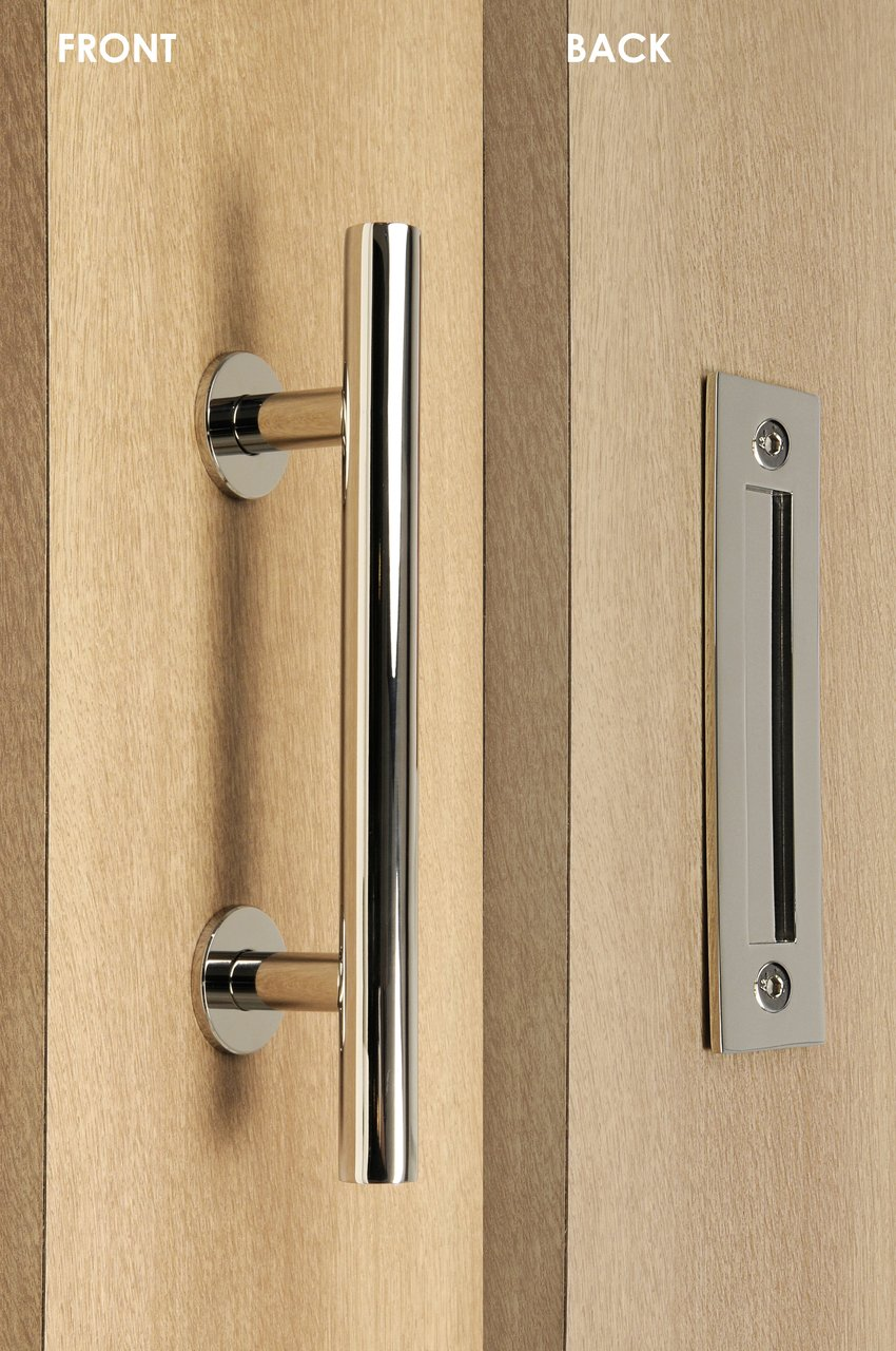 Modern and Contemporary Pull and Flush Door Handle Set / Commercial / Residential Grade Stainless Steel / Polished Chrome Finish