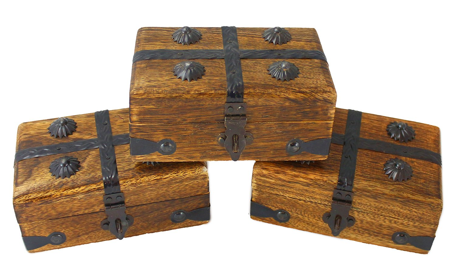 "Well Pack Box 3 Pack Mini Wooden Pirate Treasure Chests 4"" x 3"" x 2.5"" Authentic Style With Hasp Latch For Parties, Costumes, And Kids"