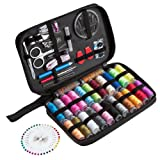 Hisitosa 裁縫セット 高品質 ソーイングセット 携帯式 24本多色縫い糸 136個裁縫部品 大人用 家庭用 (136個)