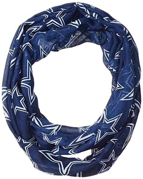 3023155a Forever Collectibles NFL Dallas Cowboys Team Logo Infinity Scarf, Blue