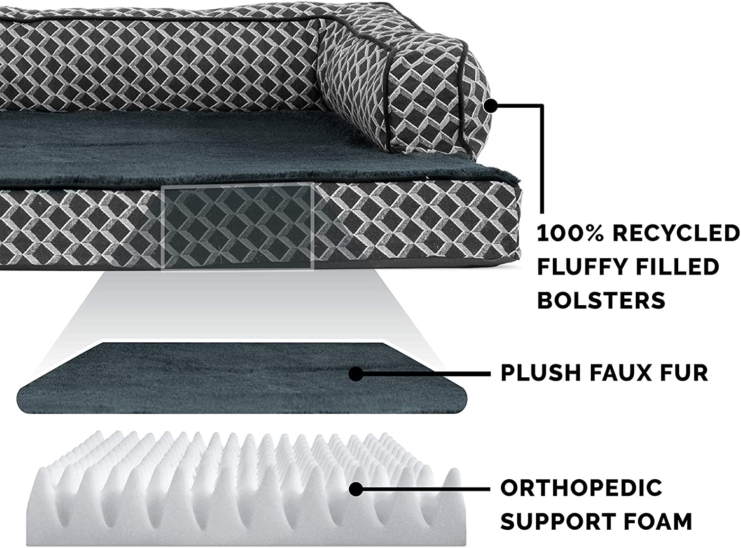 Furhaven Pet Dog Bed - Orthopedic Plush Faux Fur and Décor Comfy Couch Traditional Sofa-Style Living Room Couch Pet Bed with Removable Cover for Dogs and Cats, Diamond Gray, Jumbo : Pet Supplies