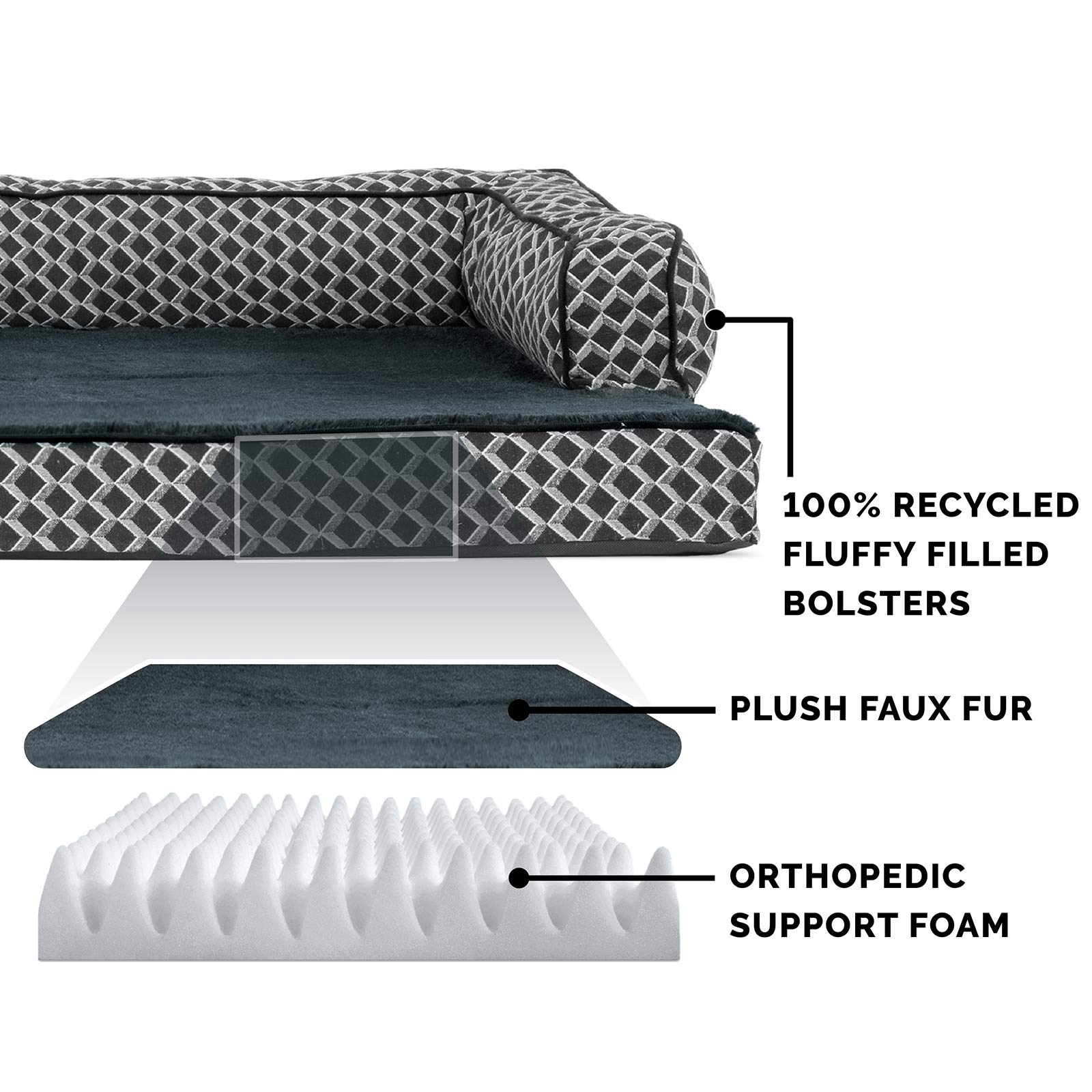 FurHaven Pet Dog Bed | Orthopedic Plush & Décor Comfy Couch Sofa-Style Pet Bed for Dogs & Cats, Diamond Gray, Jumbo by Furhaven Pet (Image #4)