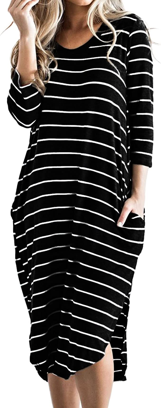 Women Round Neck Casual Long Shirt Dress Summer T-Shirt Dress Midi Dress Plus