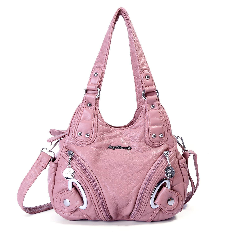 Handbag Hobo Women Bag Roomy Multiple Pockets Street Ladies' Shoulder Bag Fashion PU Tote Satchel Top Handle Bag (XS160906 217#Pink)