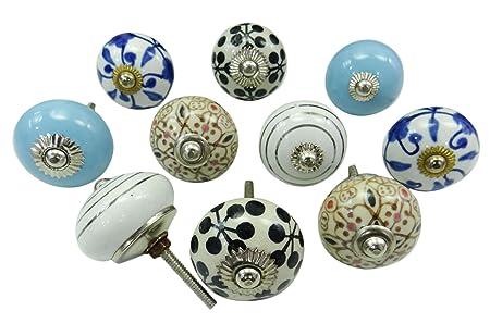 Pomelli vintage in ceramica dipinti a mano, per cassetti della cucina e  armadi Multicolour (Design#3)
