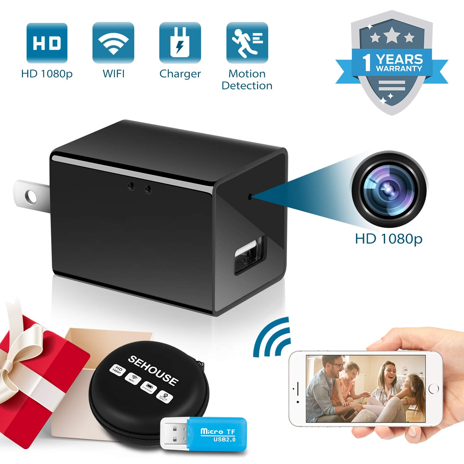 Hidden Camera 1080P HD Motion Detection WiFi Wireless Mini Cam for Home Office Hotel Security as Nanny Cam Video Recorder for iPhone/Android Phone/iPad/PC