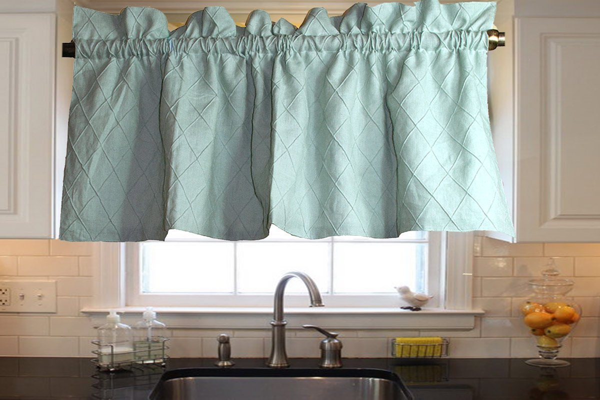 Ds Spa Toned Organic Linen Diamond Pintucked Lined Kitchen Window Valance 48''width 18''height