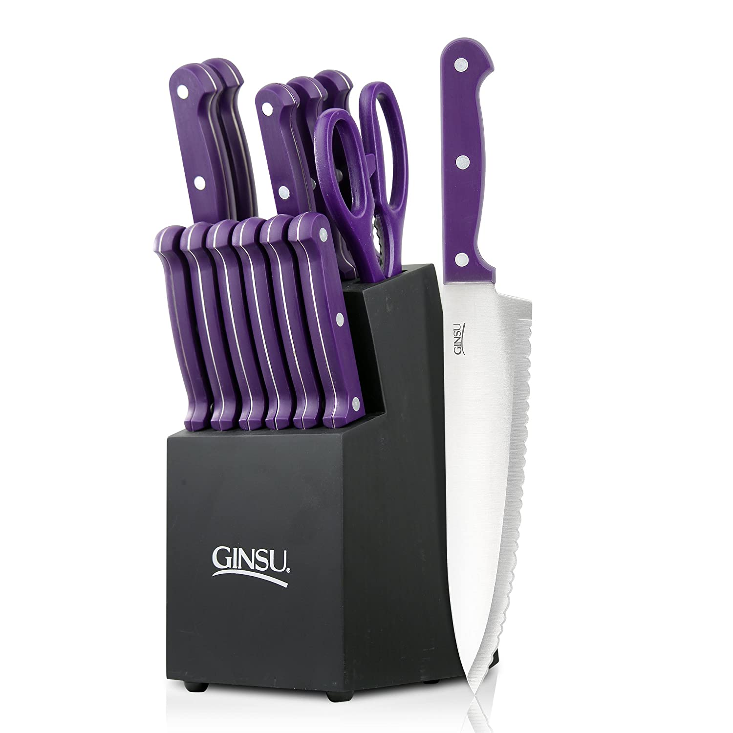 Ginsu Essential Series 14-Piece Stainless Steel Serrated Knife Set – Cutlery Set with Purple Kitchen Knives in a Black Block, 03891DS