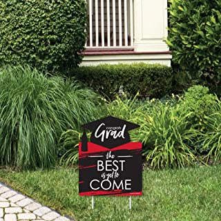 product image for Big Dot of Happiness Red Grad - Best is Yet to Come - Outdoor Lawn Sign - Red Graduation Party Yard Sign - 1 Piece