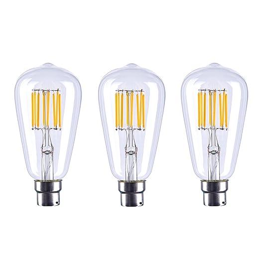 aselihgt ST64 B22 8 W Vintage Edison Bombilla LED, intensidad regulable, 2700 K,