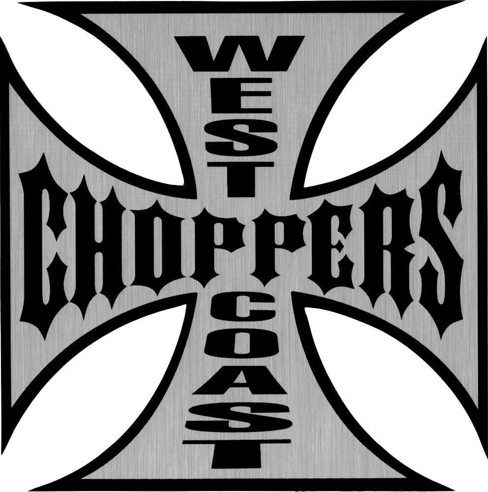 West Coast Choppers Chrome /& Black Large 6 Logo Sticker Decal