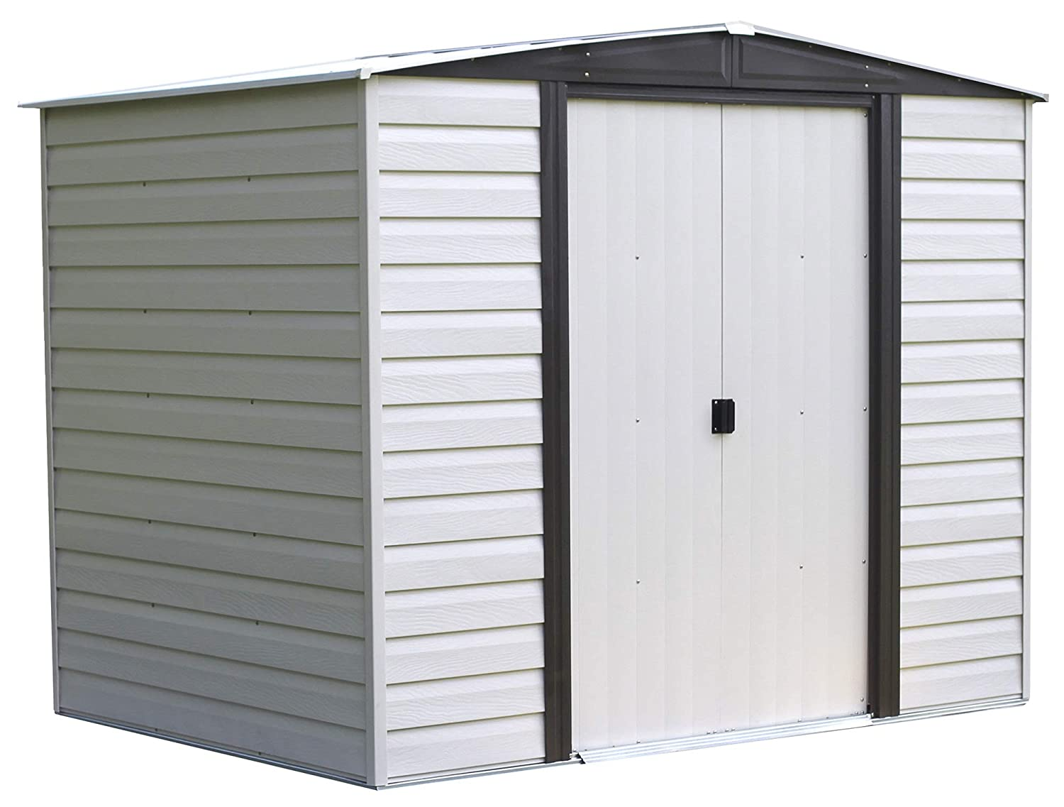 Amazon com arrow vd86 vinyl coated dallas 8 feet by 6 feet steel storage shed outdoor shed garden outdoor