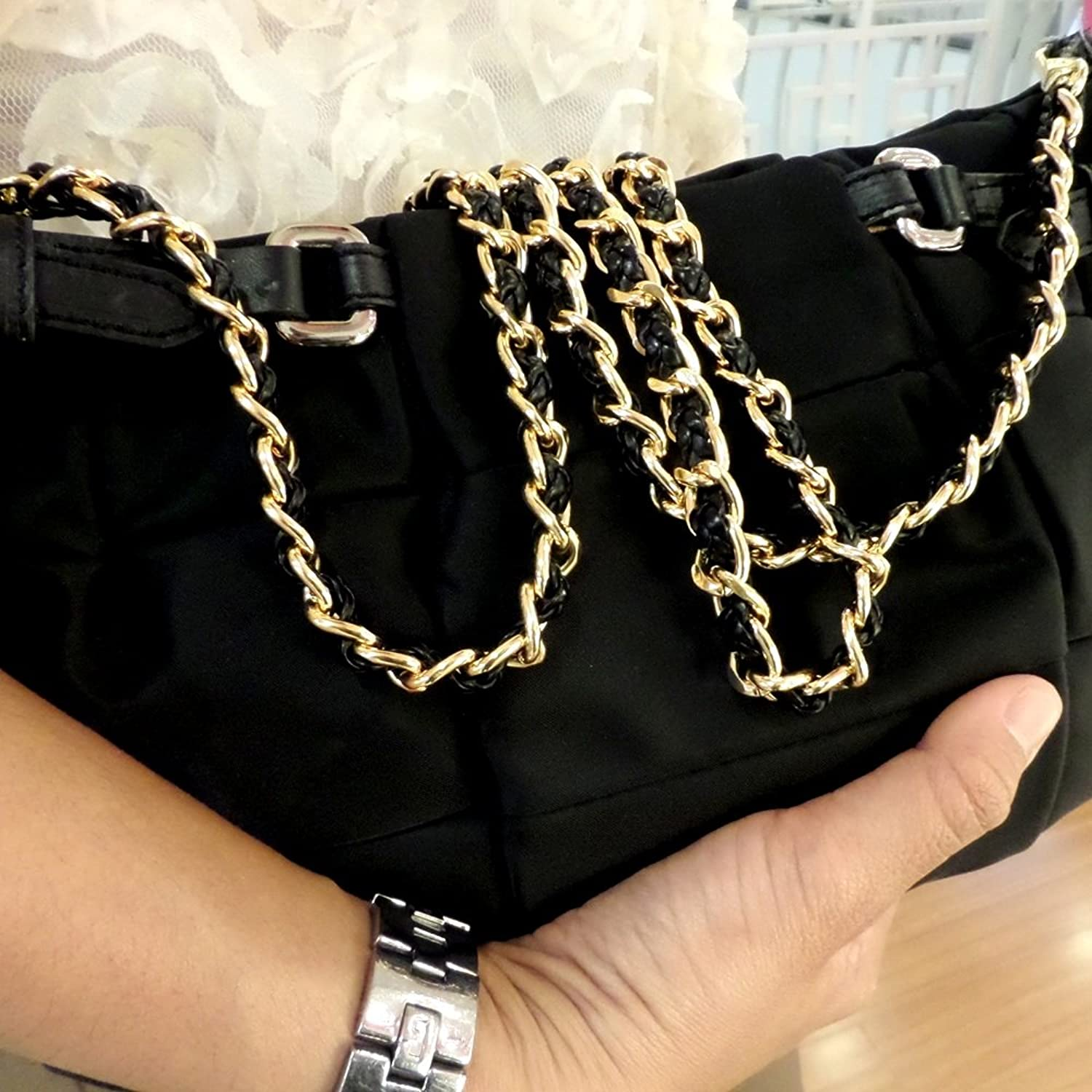 "44"" SHOULDER STRAP CROSS-BODY CHAIN GOLD PLATED SYNTHETIC LEATHER BRAID REPLACEMENT FOR DIY BAG HANDBAG"
