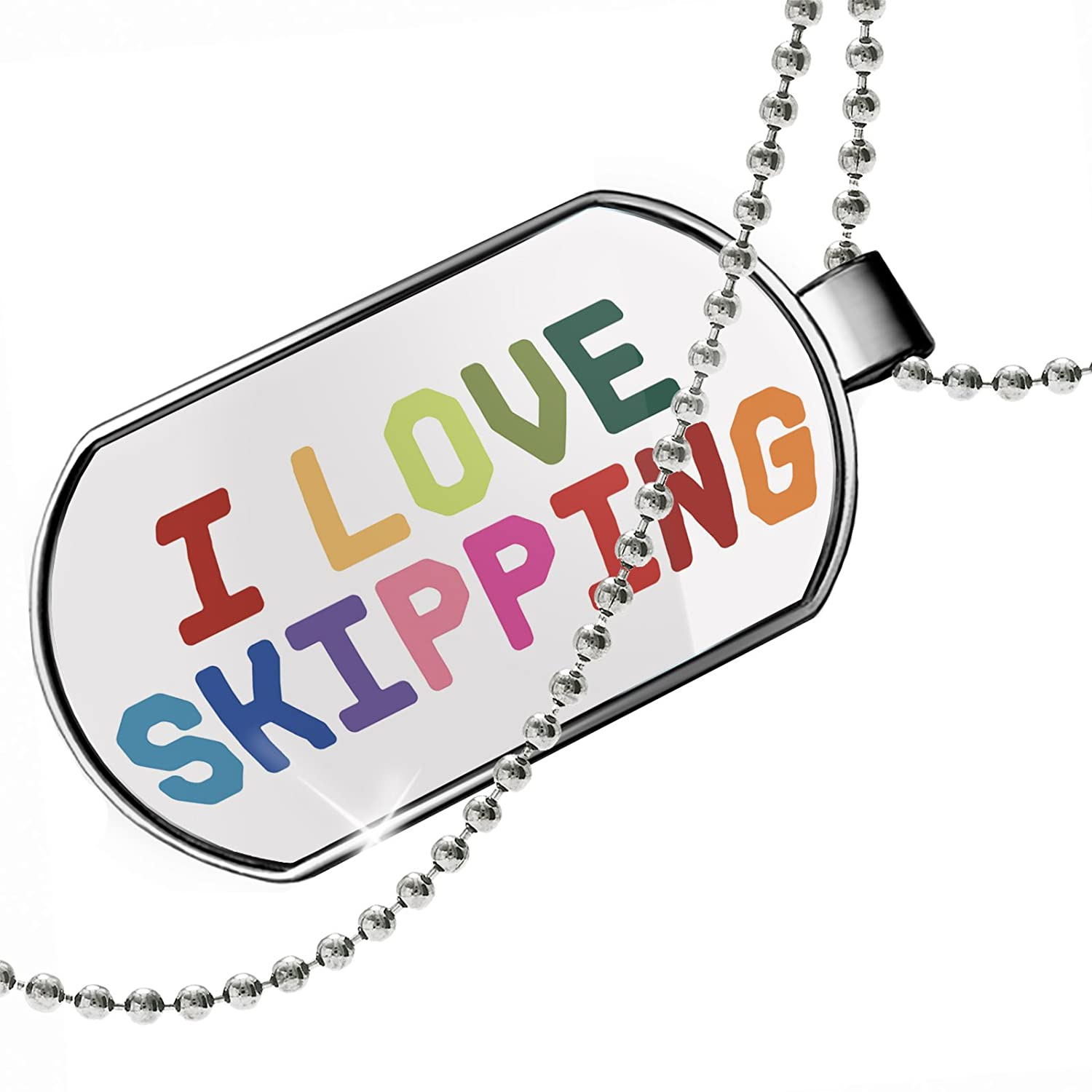 NEONBLOND Personalized Name Engraved I Love Skipping,Colorful Dogtag Necklace