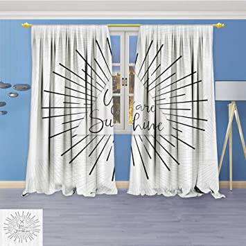 Room Darkening Thermal Insulated Grommet Window Curtains Minimalist Mochrome Tribal Style Rays Lines And Interlace