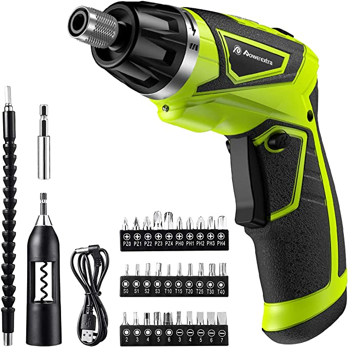 POWBUZZ 3N.m 5V Cordless Rechargeable Electric Screwdriver with 2000 mAH Battery Magnetic Portable Screwdrive Kit for DIY Project Electric Screwdriver Set with Bits 250r//min Speed and LED Lights