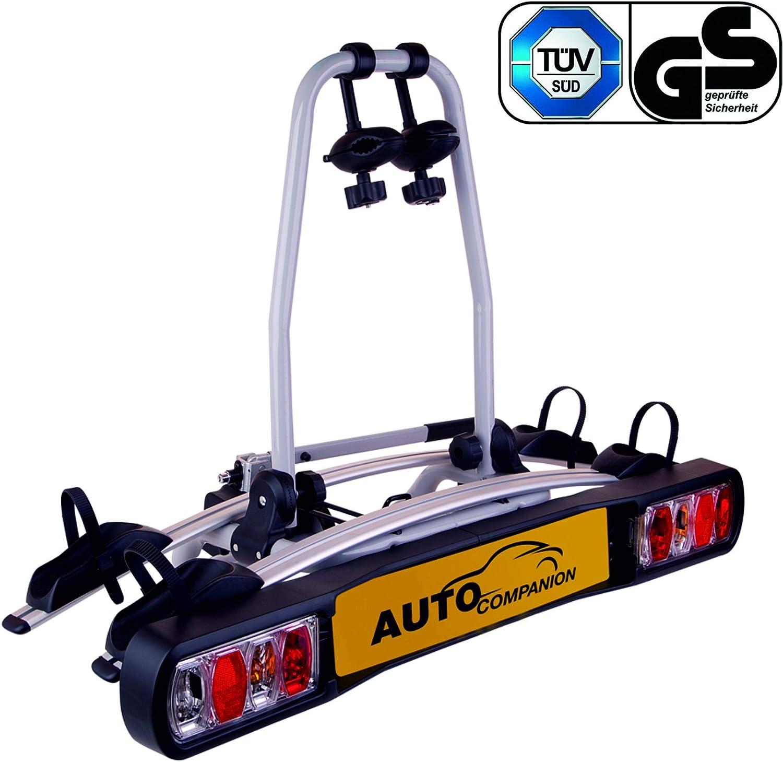 Auto Companion - Soporte para bola de remolque con plataforma trasera para 2 bicicletas