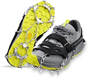 LOPOO Crampons Traction Cleats Ice Snow Grips with 19 Spikes System Safe Protect for Walking, Ice Fishing, Climbing and Hiking on Snow and Ice