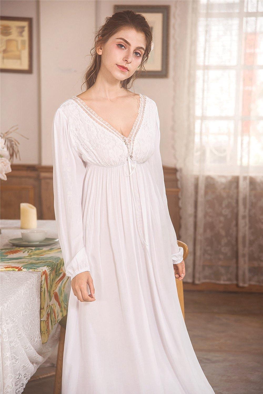 01b82bf975 QLX Retro Palace Sleeping Dress Women Spring    Autumn V Necklace Cotton  Long Sleepwear White