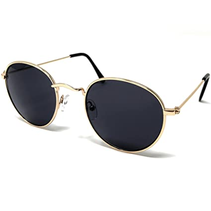 b5973a1e3e Image Unavailable. Image not available for. Color  LOOSE LEAF Eyewear Women s  Retro Round Gold Frame Sunglasses w Black Temples in Smoke Lens