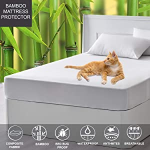 LINENWALAS Waterproof Twin Mattress Protector for Bunk Bed – Mattress Cover, Bamboo Terry Soft Fabric, Dust Proof Ultra Soft Breathable Bed Cooling (Twin Size)