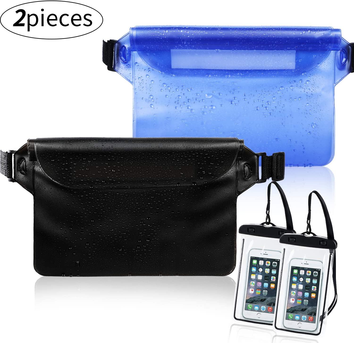 Weewooday 2 Pieces Waterproof Waist Pouch and 2 Piece Black Waterproof Phone Case Dry Bag for Boating Swimming Kayaking Beach Pool Water Parks, Keeping Phone Wallet Safe and Dry (Color Set 1)
