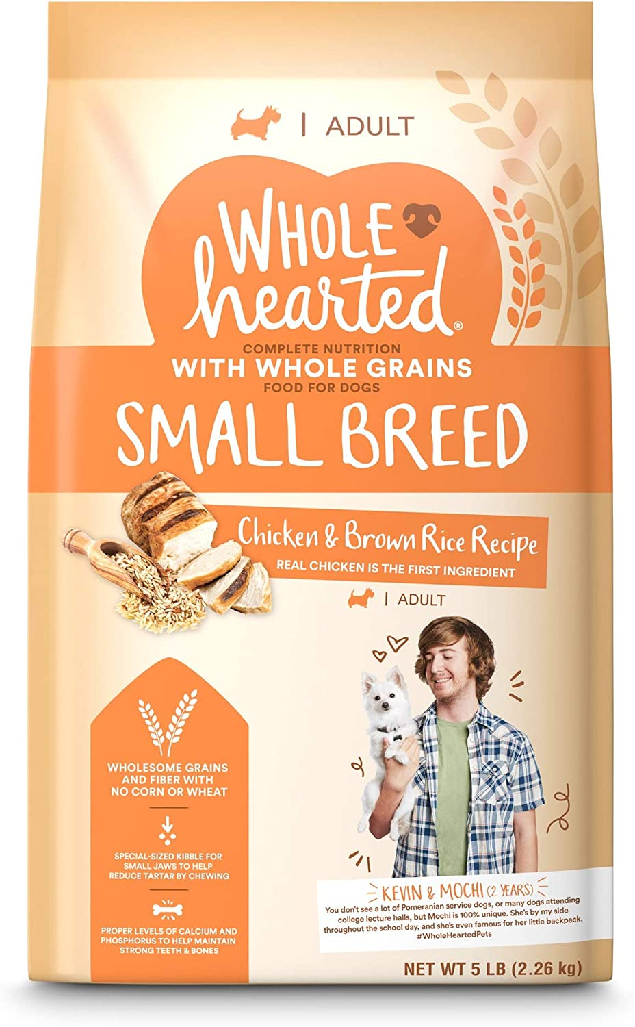 WholeHearted Adult Small-Breed Chicken & Brown Rice Recipe with Whole Grains Dry Dog Food, 5 lbs.