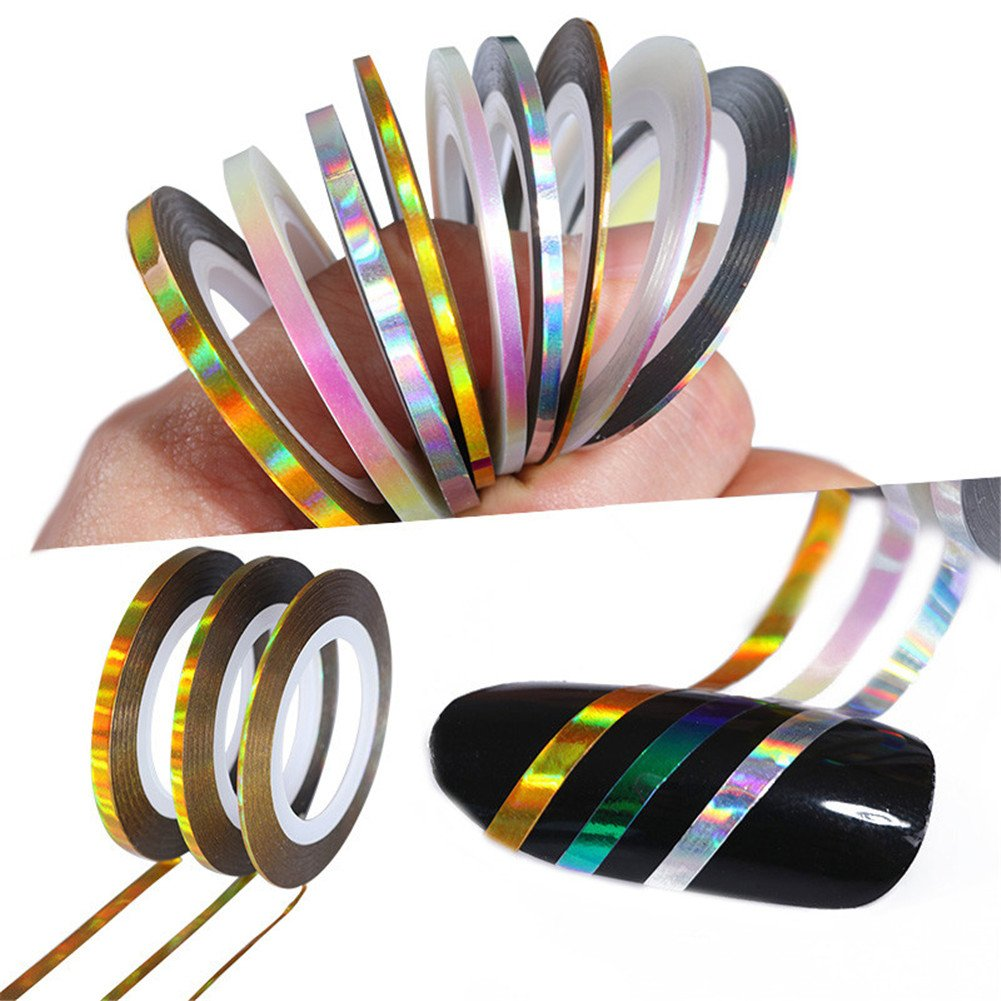 Born Pretty 12 Rolls 2mm Matte Glitter Nail Striping Tape Line Multi Color Styling Tool Sticker Decal