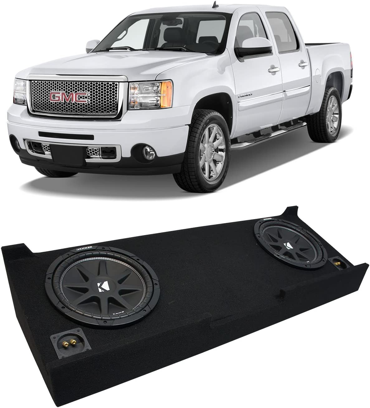 Compatible with Chevy Silverado or GMC Sierra Full Size Extended Cab Truck 2007-2013 Single 10 Subwoofer Sub Box Speaker Enclosure