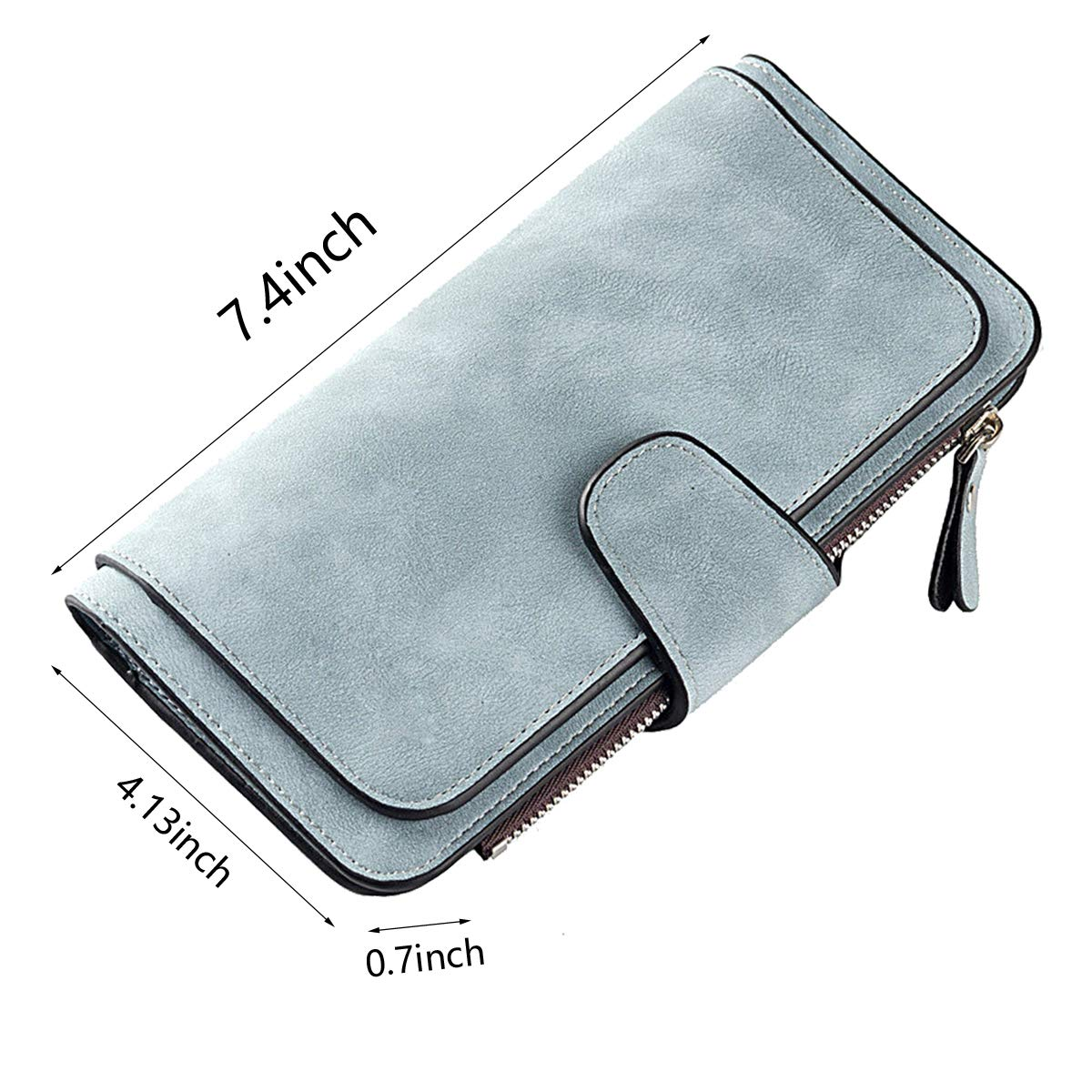 Laynos Wallet for Women Leather Clutch Purse Long Ladies Credit Card Holder Organizer Travel Purse Blue by Laynos (Image #3)
