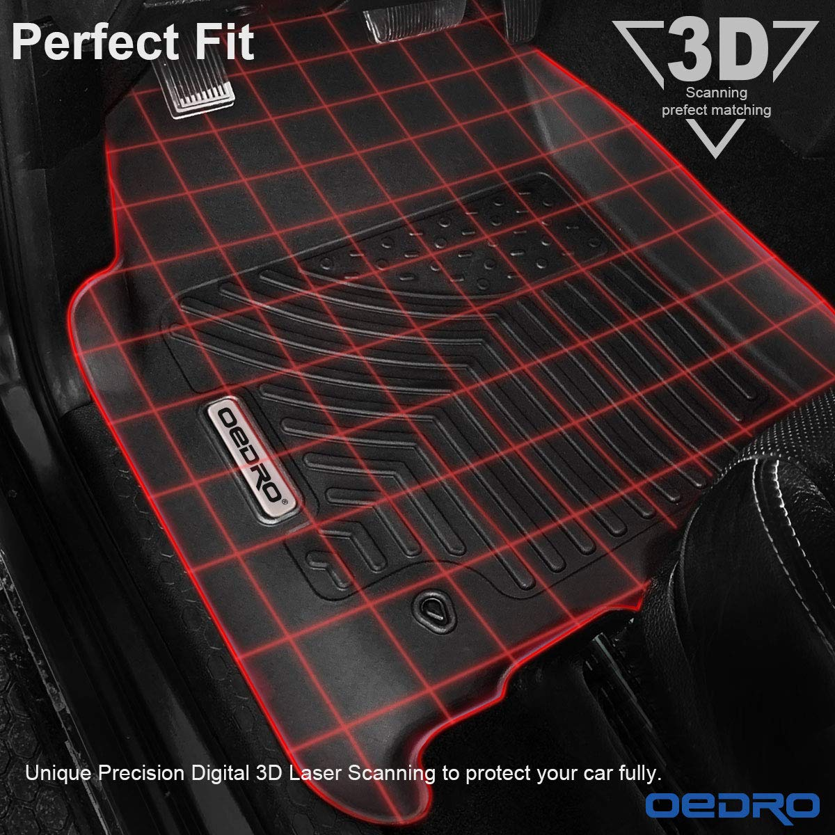 oEdRo Floor Mats Compatible for 2012-2018 Dodge Ram 1500/2500/3500 Crew Cab, Unique Black TPE All-Weather Guard Includes 1st and 2nd Row: Front, Rear, Full Set Liners by oEdRo (Image #3)