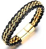 Halukakah ● Honra ● Pulsera Hombre Cuero Genuina Doble Cadena Titanio Acero Inoxidable Oro/Plata/Negro Cierre Magnético…