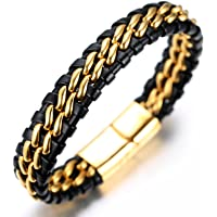 "Halukakah ""SOLO"" Men's Genuine Leather Titanium Bracelet Black & Golden 8.46""(21.5cm) with FREE Giftbox"
