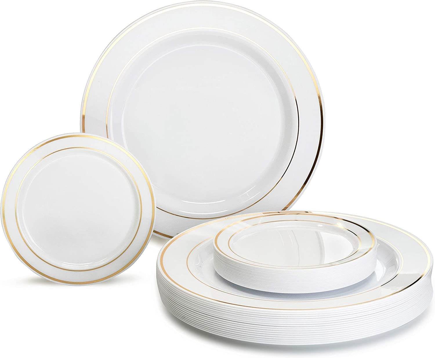 OCCASIONS 240 Plates Pack, Heavyweight Premium Disposable Plastic Plates Set 120 x 10.5'' Dinner + 120 x 6.25'' Dessert/Cake Plates (White & Gold Rim) 71g7ktIQFKL